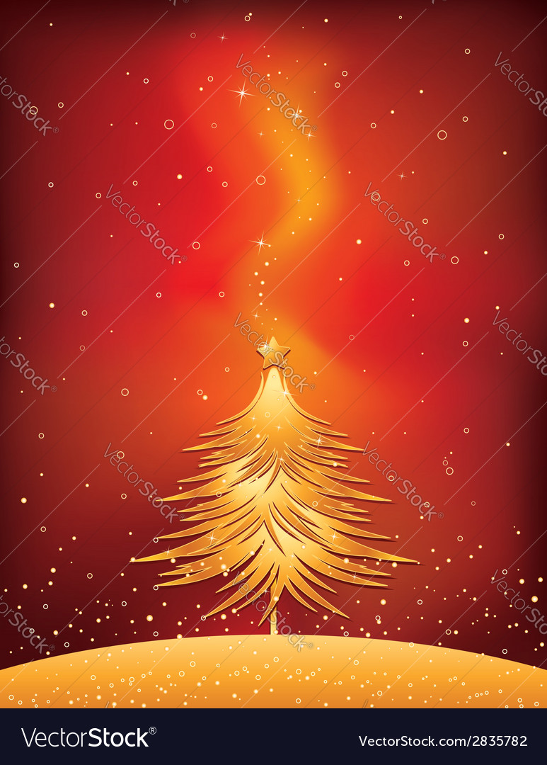 Christmas tree on red background vector | Price: 1 Credit (USD $1)