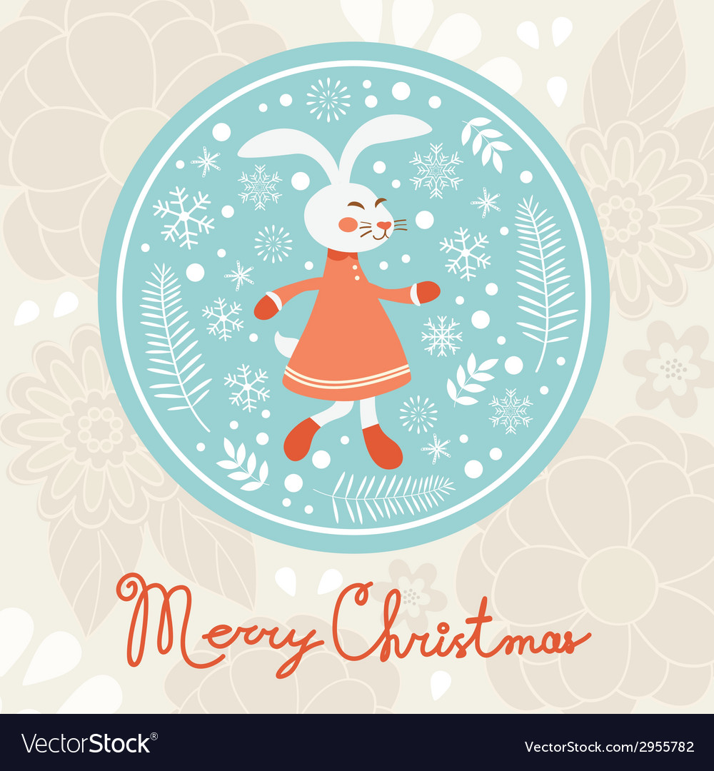 Cute rabbit girl christmas card vector | Price: 1 Credit (USD $1)