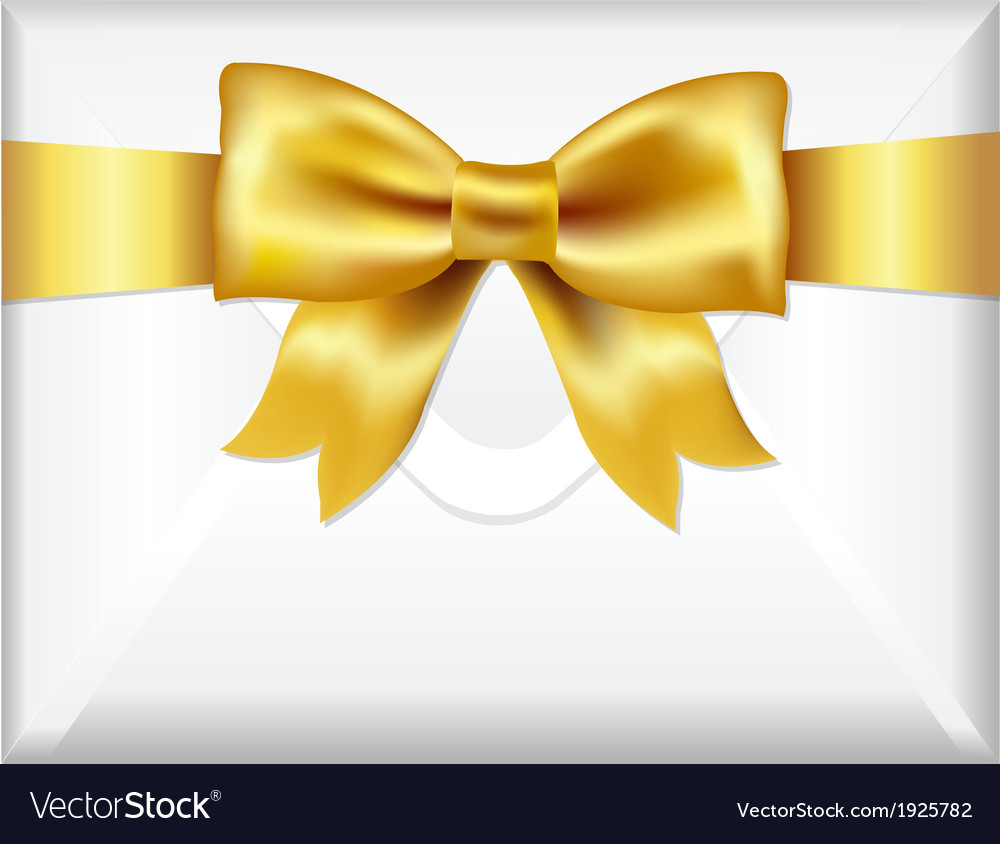 Envelope with golden bow vector | Price: 1 Credit (USD $1)