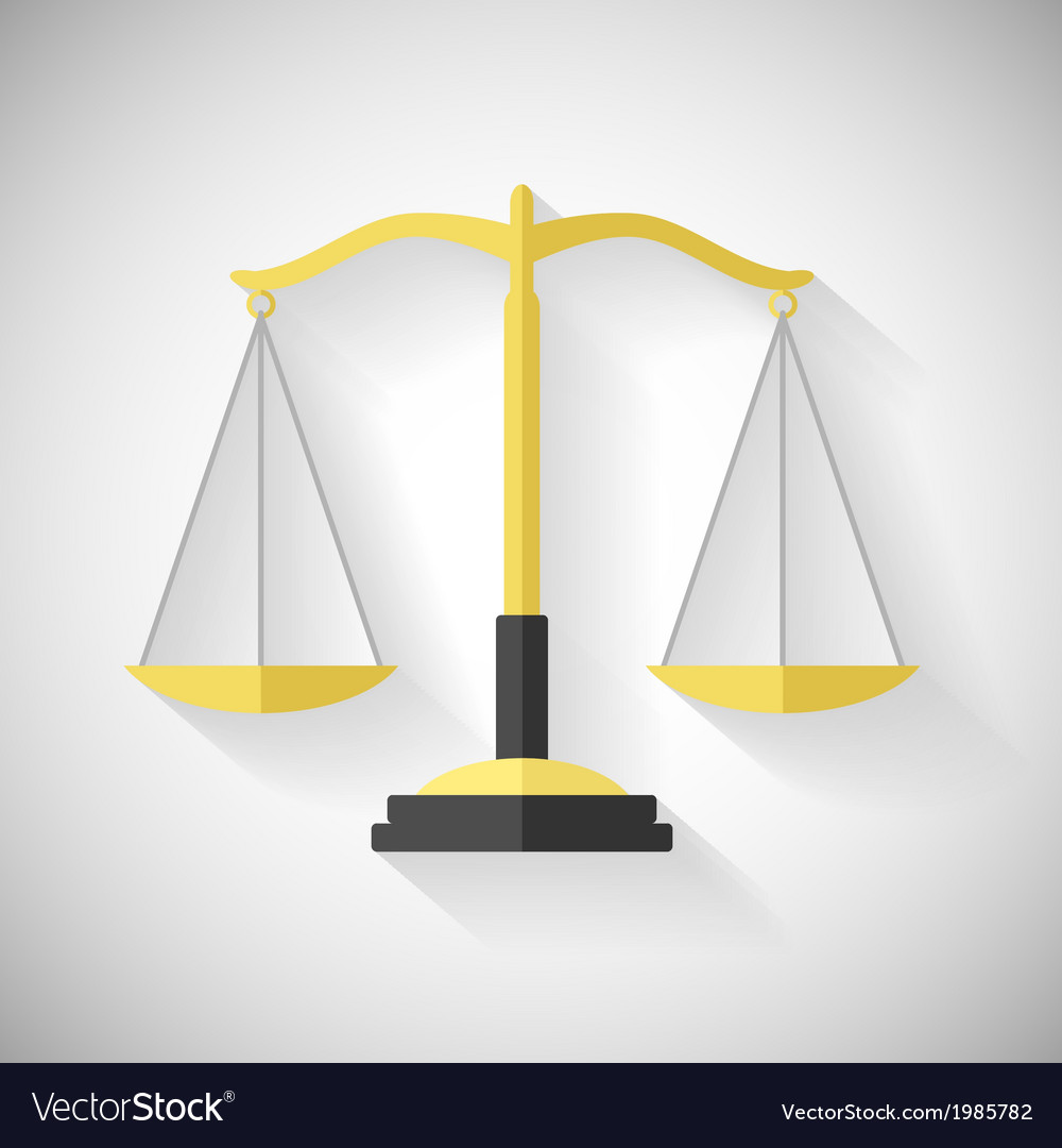Flat design law symbol justice scales icon on grey vector | Price: 1 Credit (USD $1)