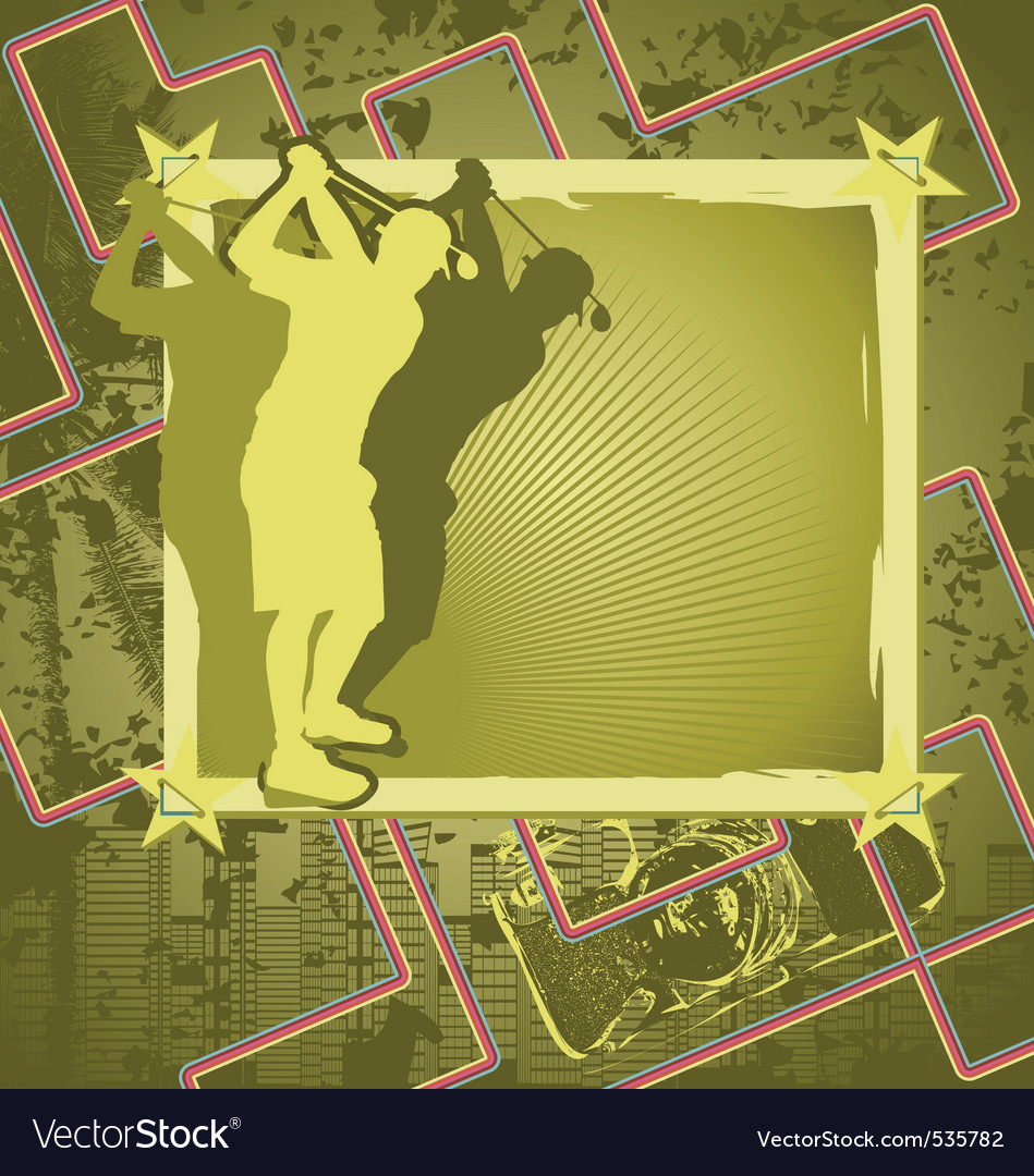 Golf vintage frame vector | Price: 1 Credit (USD $1)