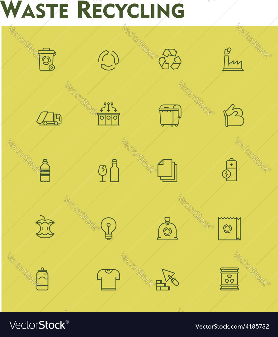 Linear waste recycling icon set vector | Price: 1 Credit (USD $1)