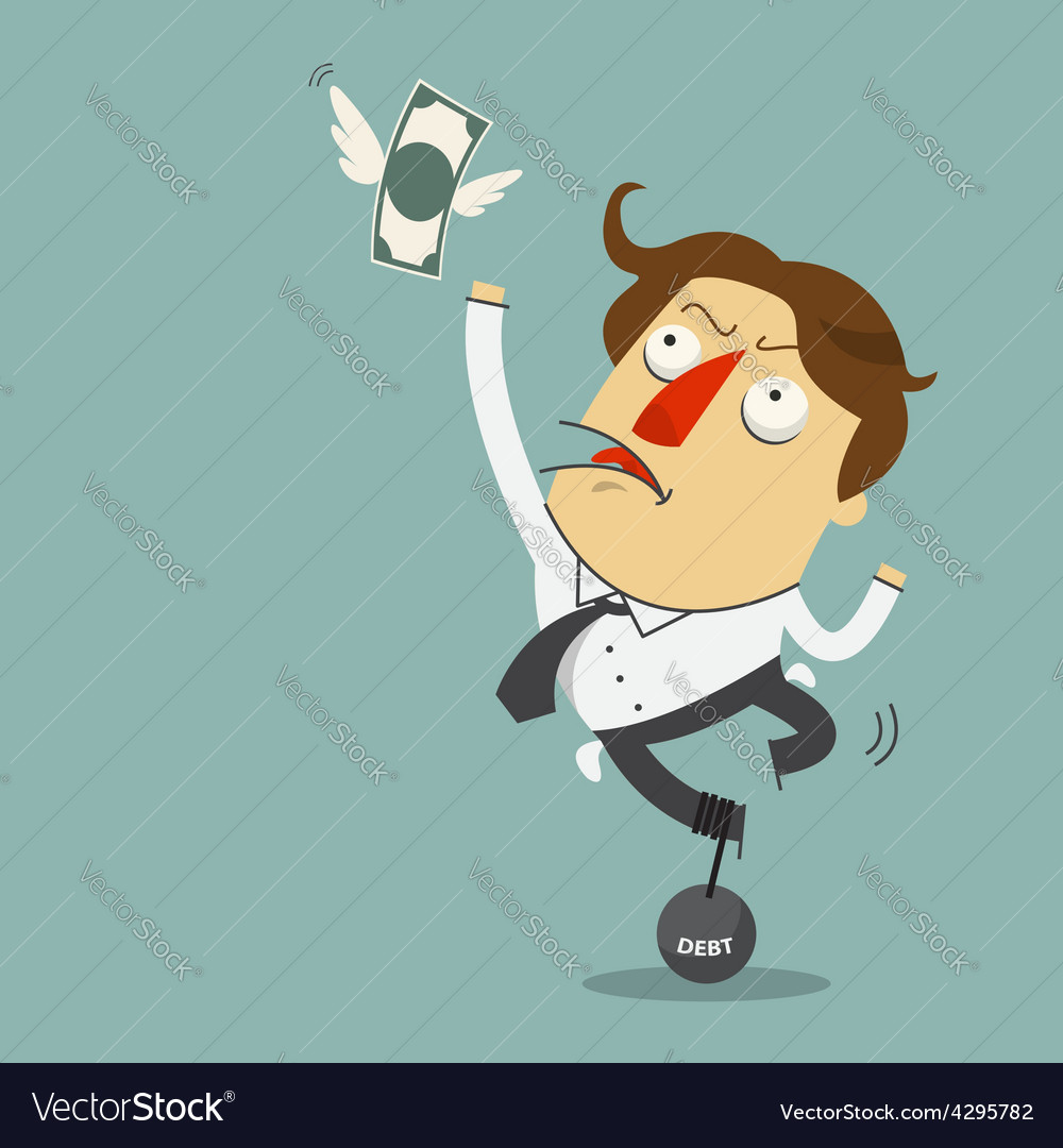 Money is flying away from sadness businessman vector | Price: 1 Credit (USD $1)