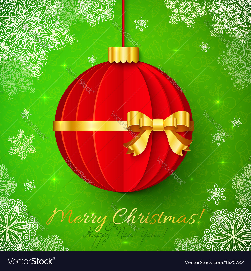 Red origami christmas ball with golden ribbon vector | Price: 1 Credit (USD $1)