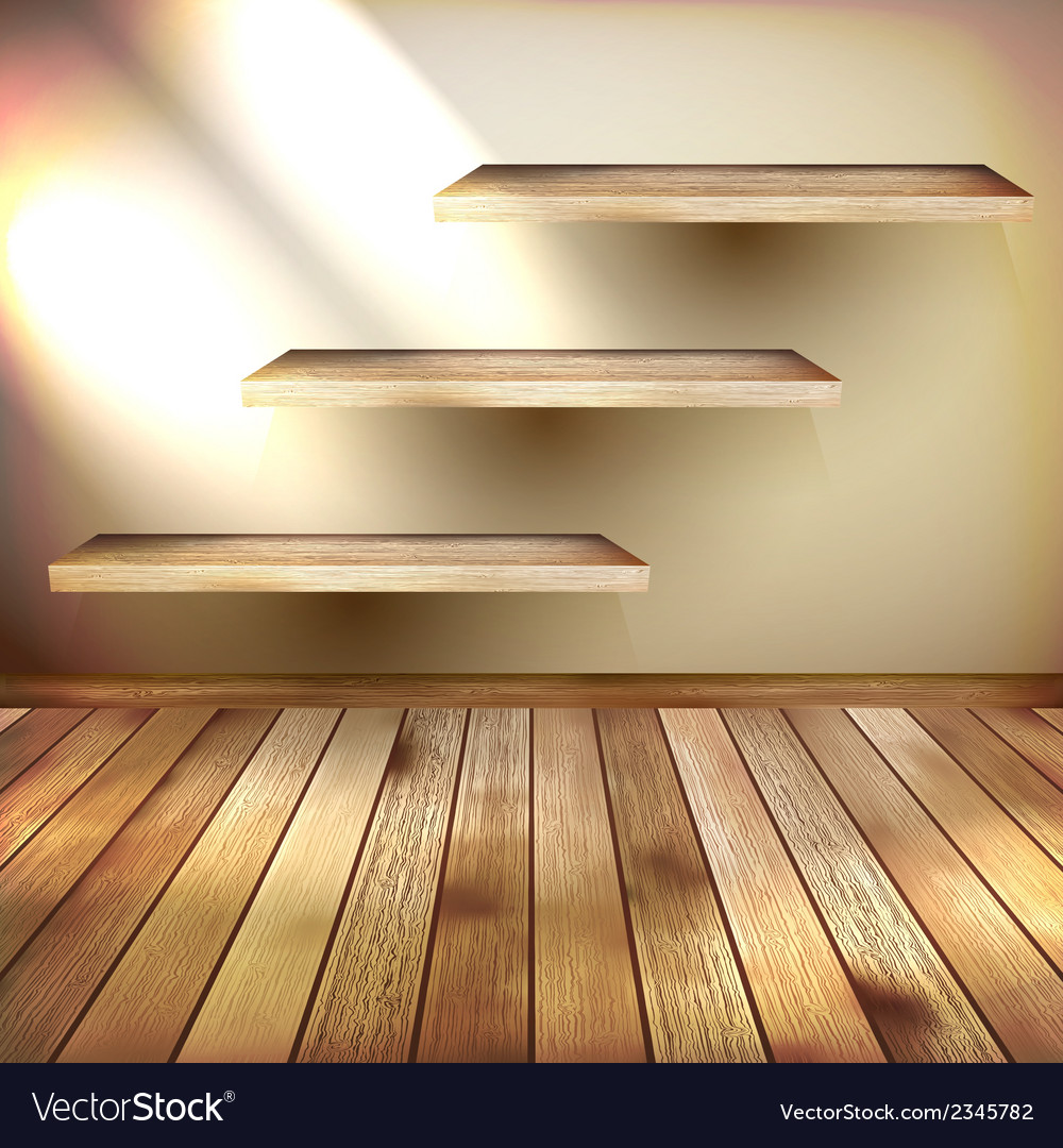 Room with the shelfs and wooden floor eps 10 vector | Price: 1 Credit (USD $1)
