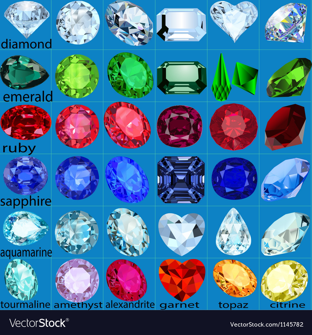 Set of precious stones of different cuts and color vector | Price: 1 Credit (USD $1)
