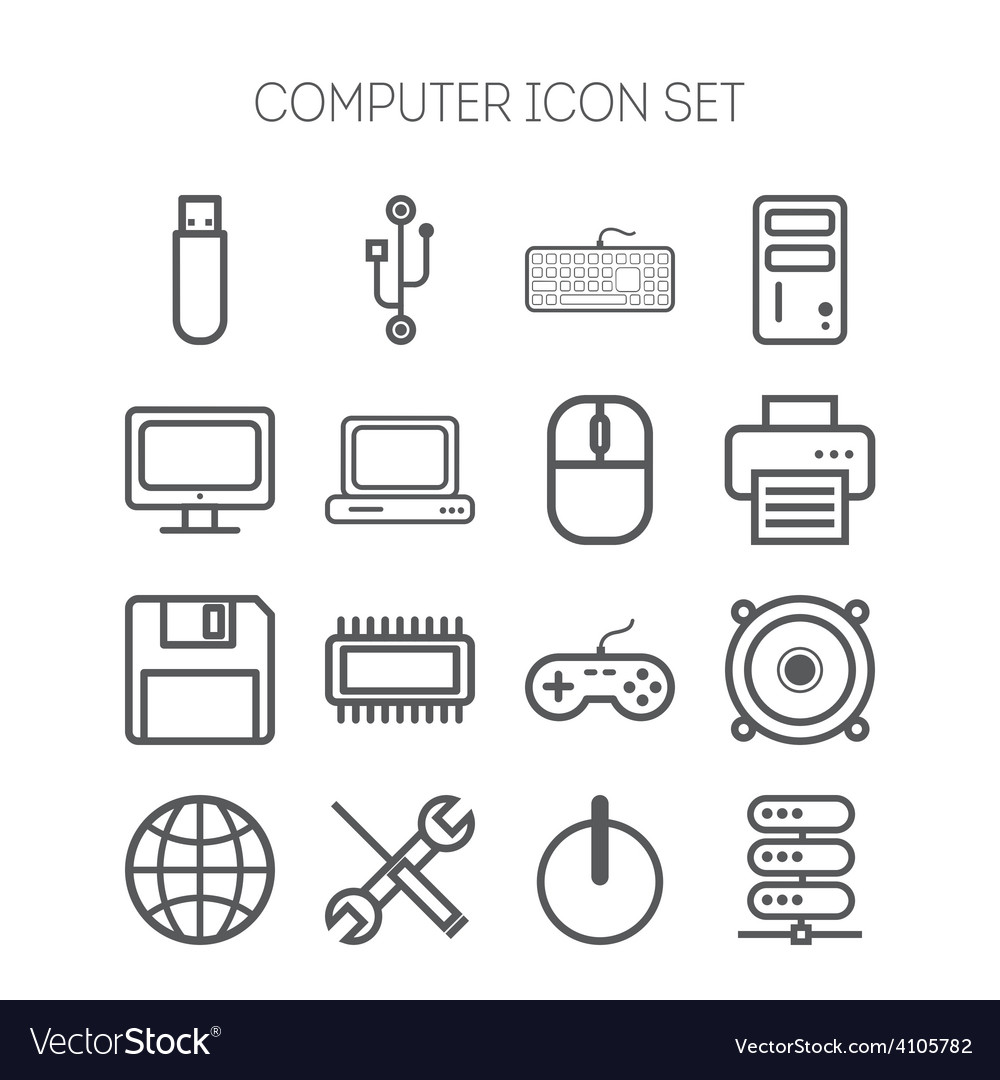 Set of simple icons for computer web tablet vector | Price: 1 Credit (USD $1)