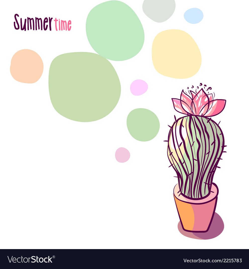 Background with blooming cactus vector | Price: 1 Credit (USD $1)