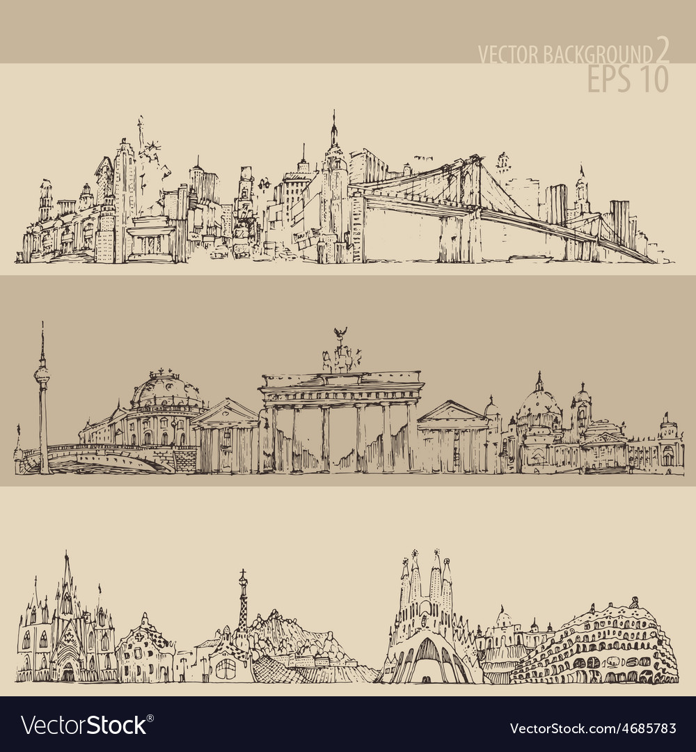 City set new york berlin barcelon vintage vector | Price: 1 Credit (USD $1)