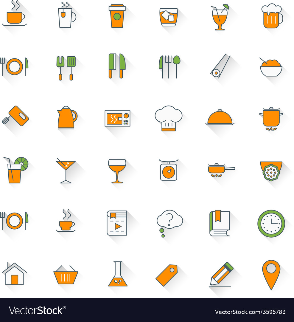 Food and restaurant flat design icon set food vector | Price: 1 Credit (USD $1)