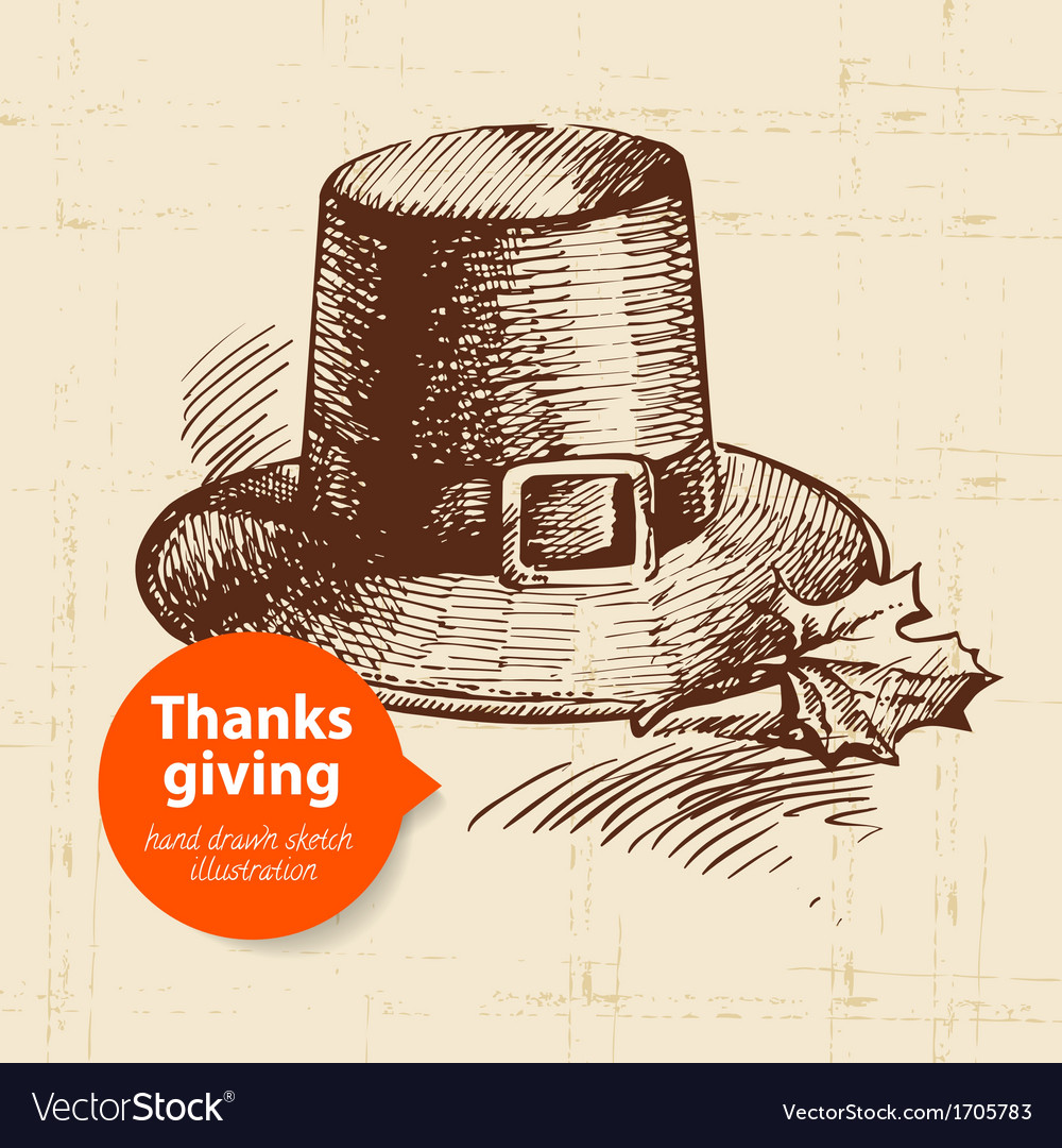 Hand drawn vintage thanksgiving day sketch vector | Price: 1 Credit (USD $1)