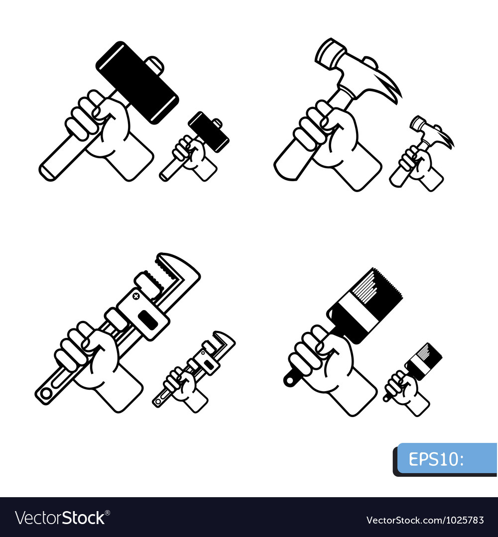 Hand tools icon set vector | Price: 1 Credit (USD $1)