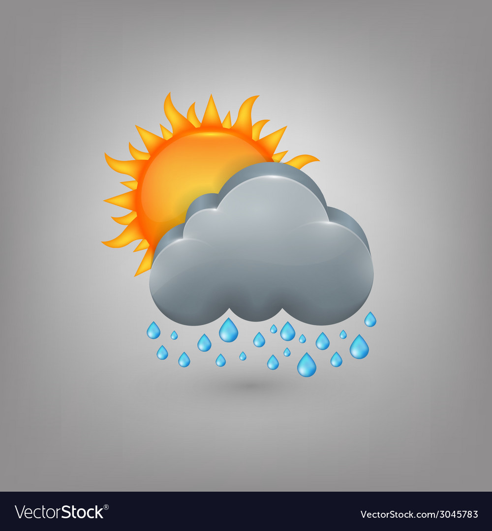Icon weather cloud sun rain vector | Price: 1 Credit (USD $1)