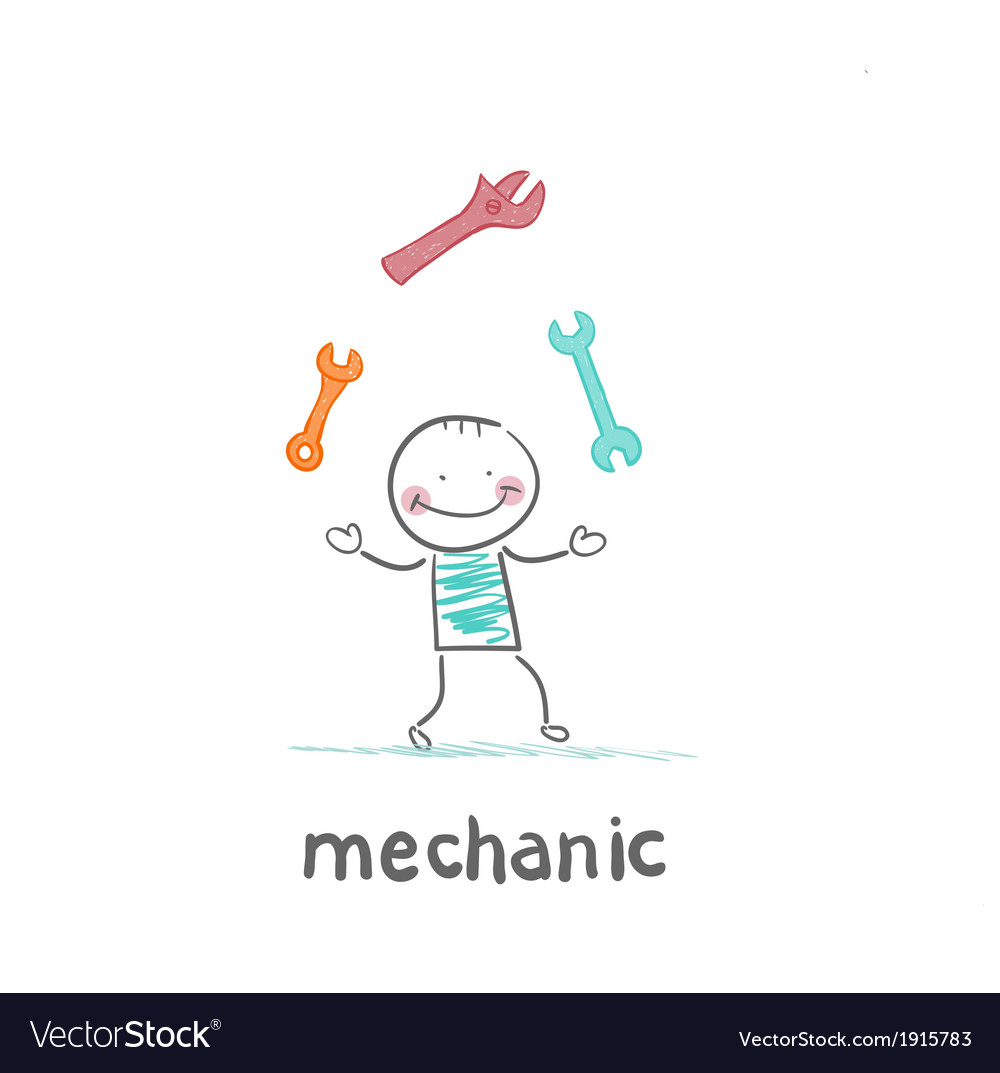 Mechanic juggling keys vector | Price: 1 Credit (USD $1)
