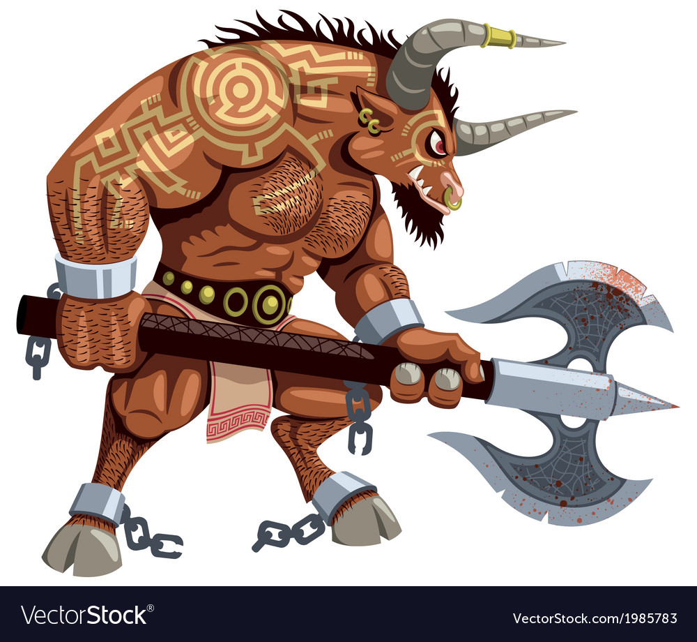 Minotaur on white vector | Price: 3 Credit (USD $3)