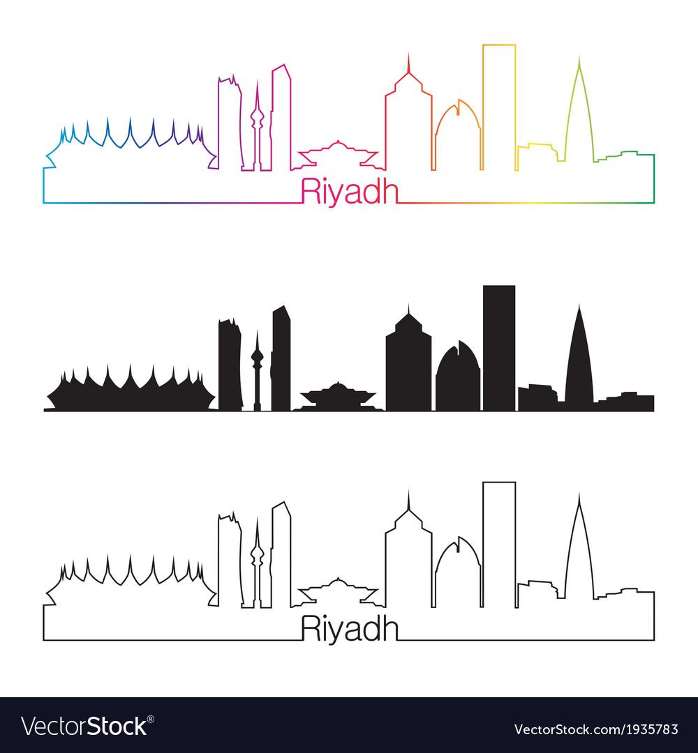 Riyadh skyline linear style with rainbow vector | Price: 1 Credit (USD $1)