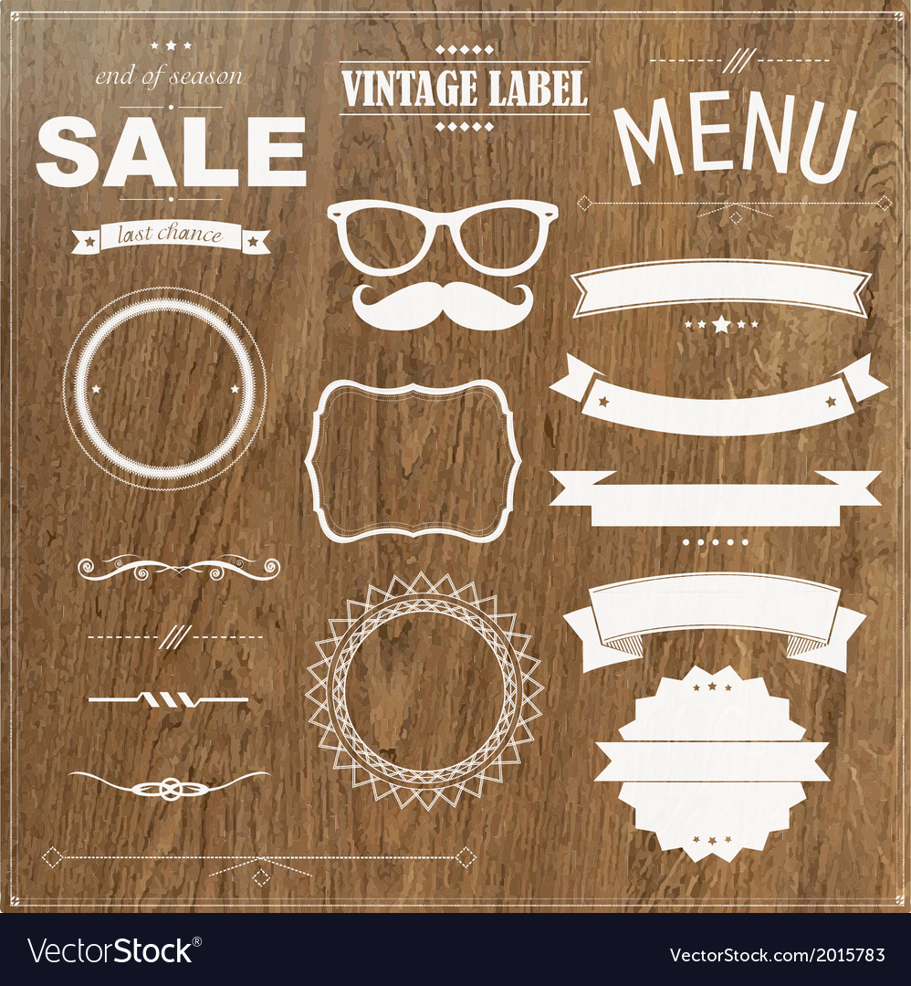 Set of vintage badges with wood background vector | Price: 1 Credit (USD $1)
