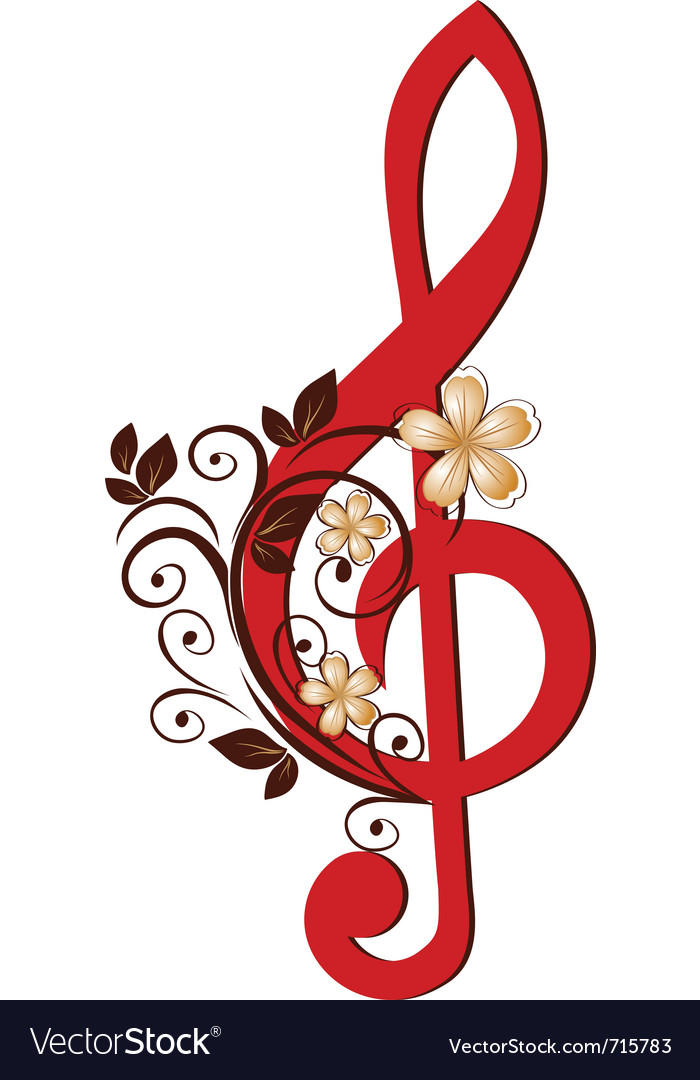 Treble clef with a flower pattern vector | Price: 1 Credit (USD $1)