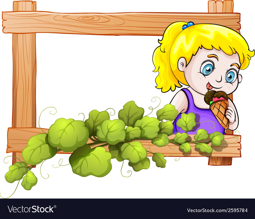 A frame with a young girl eating an icecream vector | Price: 1 Credit (USD $1)