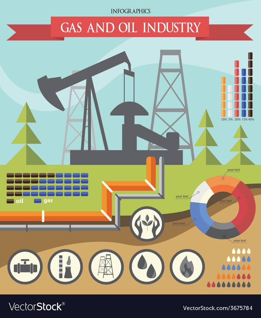Gas and oil industry infographic vector | Price: 1 Credit (USD $1)