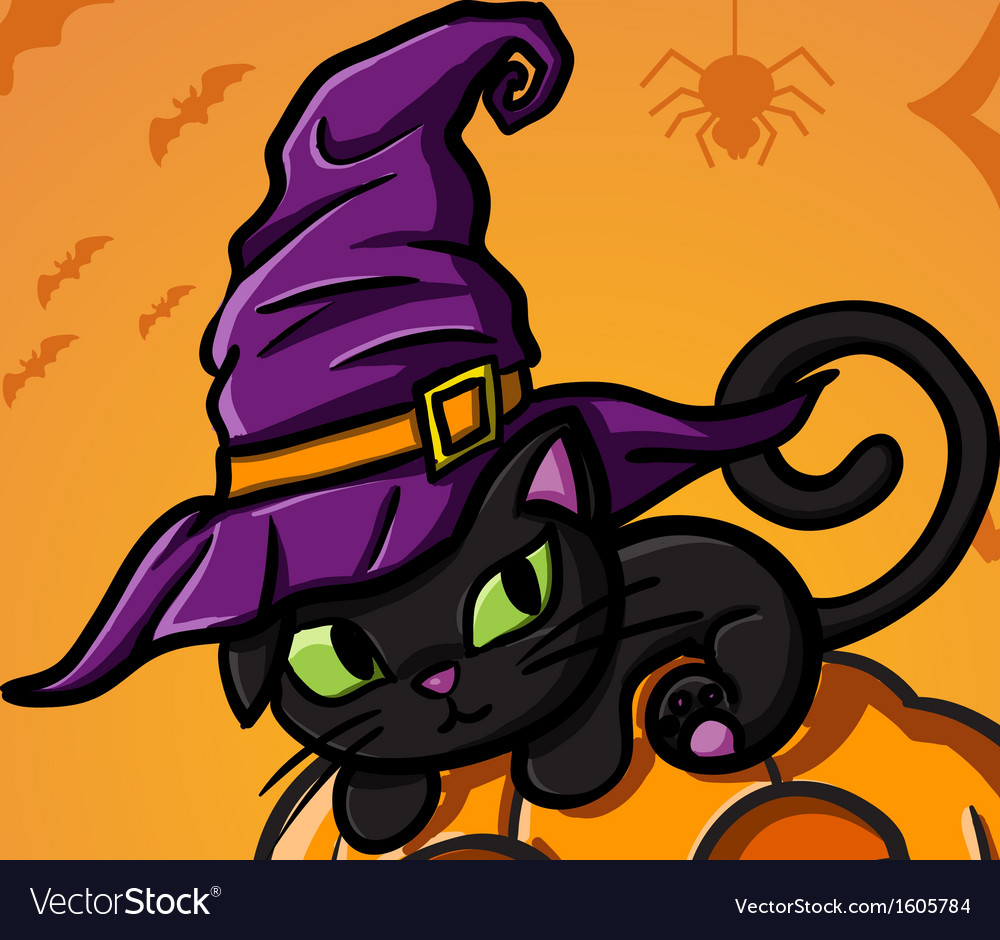 Halloween black cat and pumpkin vector | Price: 1 Credit (USD $1)