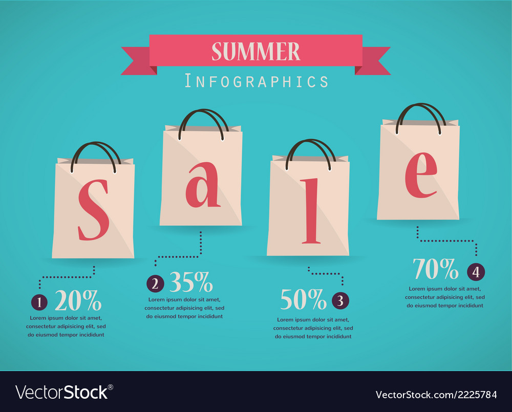 Retro sale nfographics with shopping bags vector | Price: 1 Credit (USD $1)