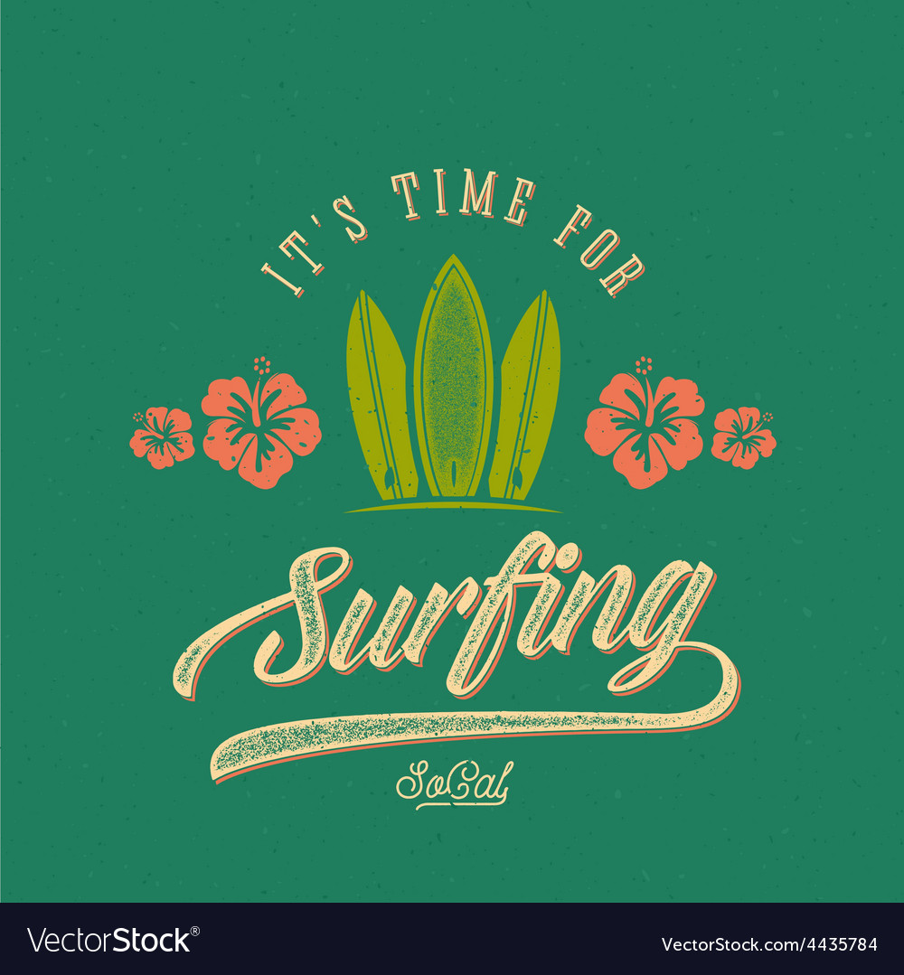 Retro style surfing label logo or t-shirt vector | Price: 1 Credit (USD $1)