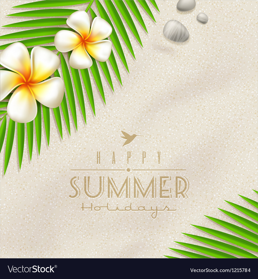 Tropical flowers and palm tree branches vector | Price: 1 Credit (USD $1)