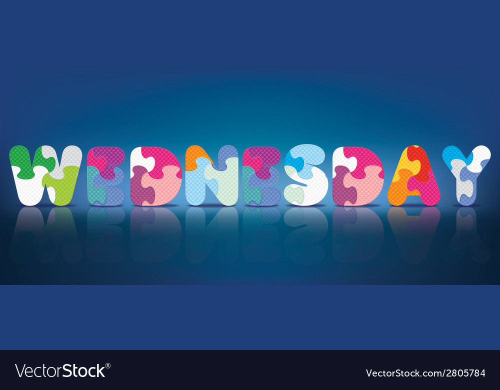 Wednesday written with alphabet puzzle vector | Price: 1 Credit (USD $1)
