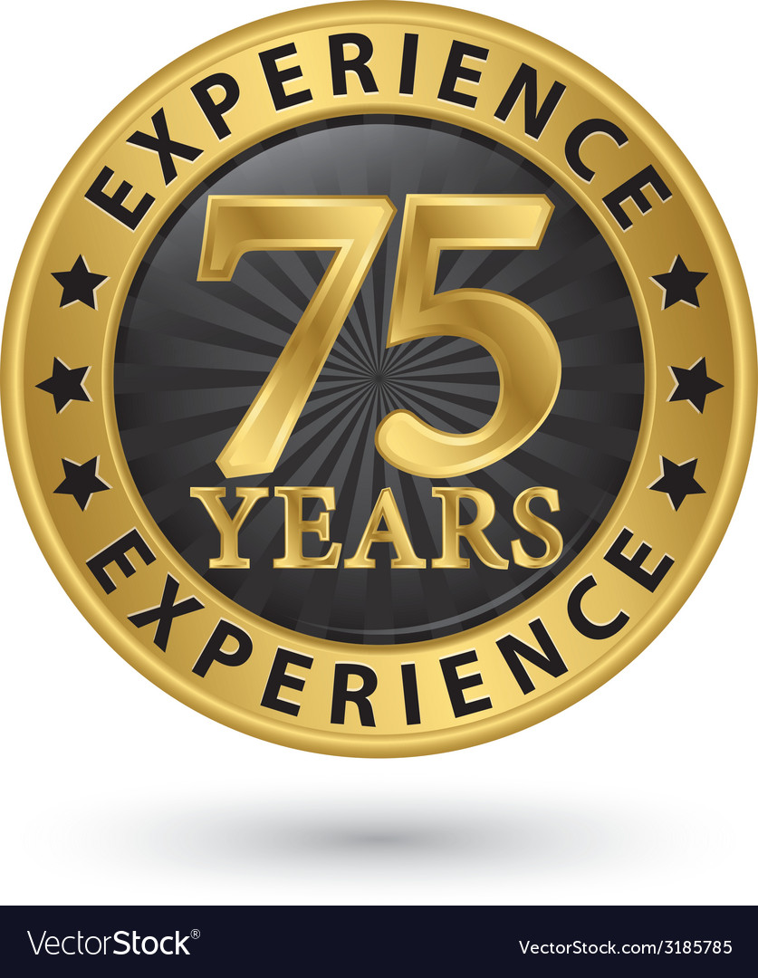 75 years experience gold label vector | Price: 1 Credit (USD $1)