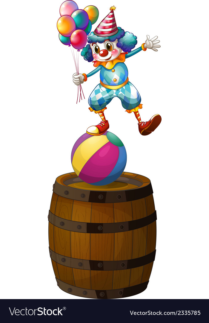 A clown above the barrel vector | Price: 1 Credit (USD $1)