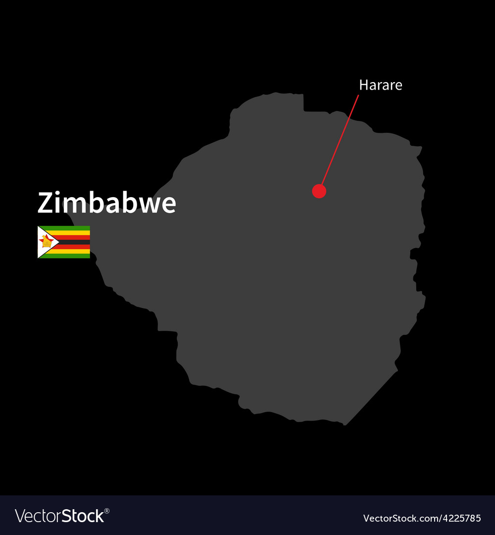 Detailed map of zimbabwe and capital city harare vector | Price: 1 Credit (USD $1)