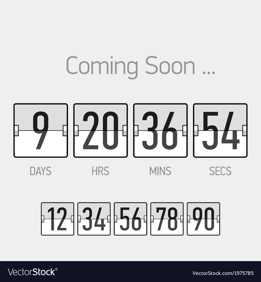 Flip coming soon countdown timer template vector | Price: 1 Credit (USD $1)
