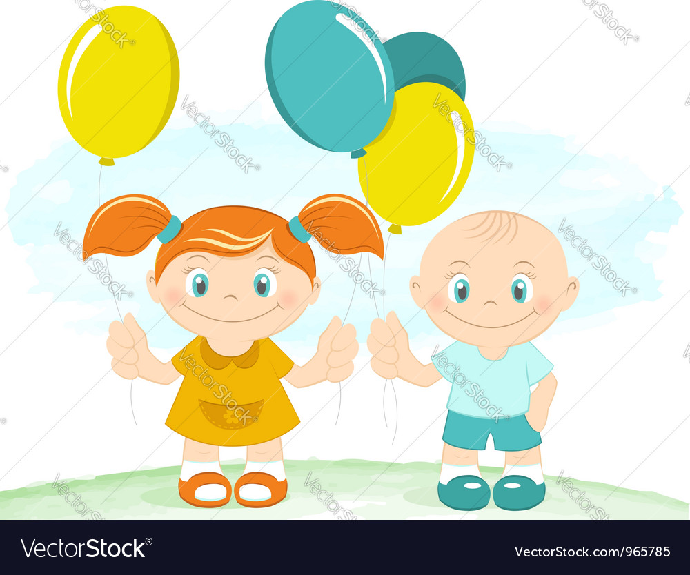 Happy kids with toy balloons vector | Price:  Credit (USD $)