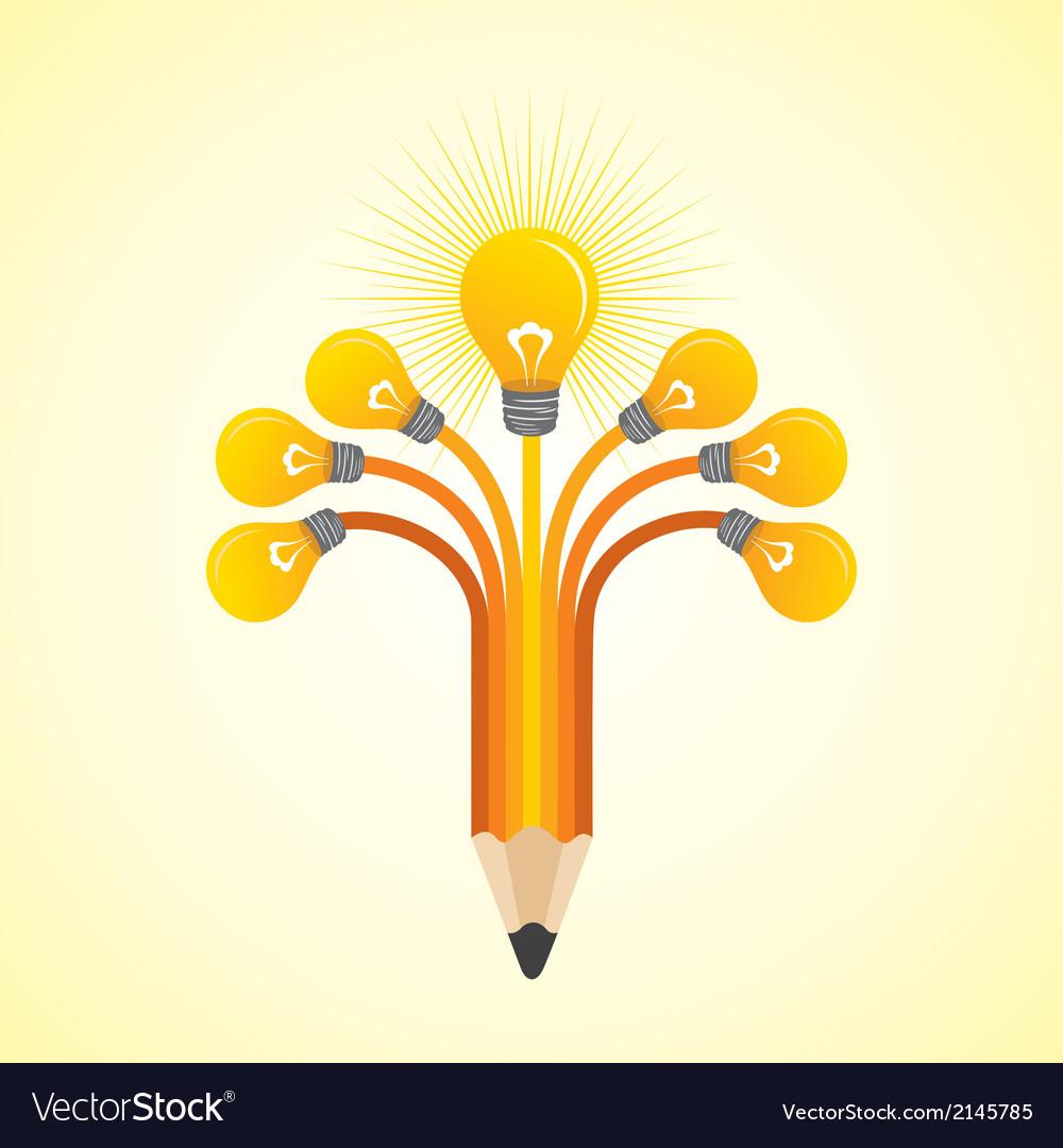 Light-bulbs hands make pencil vector | Price: 1 Credit (USD $1)