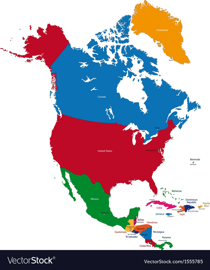 North america map vector | Price: 1 Credit (USD $1)