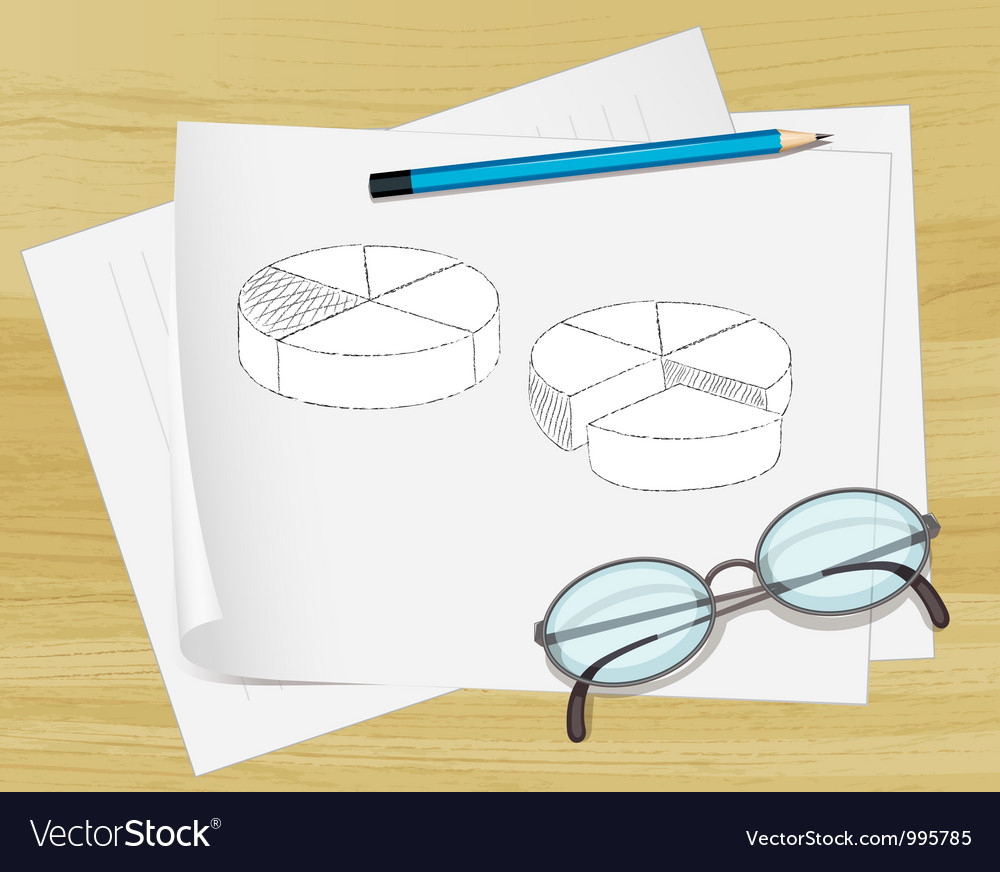 Planning pie chart paper vector | Price: 1 Credit (USD $1)