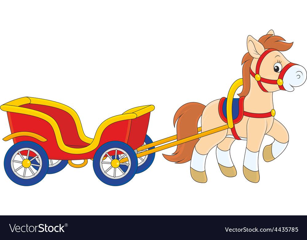 Pony with a cart vector | Price: 1 Credit (USD $1)