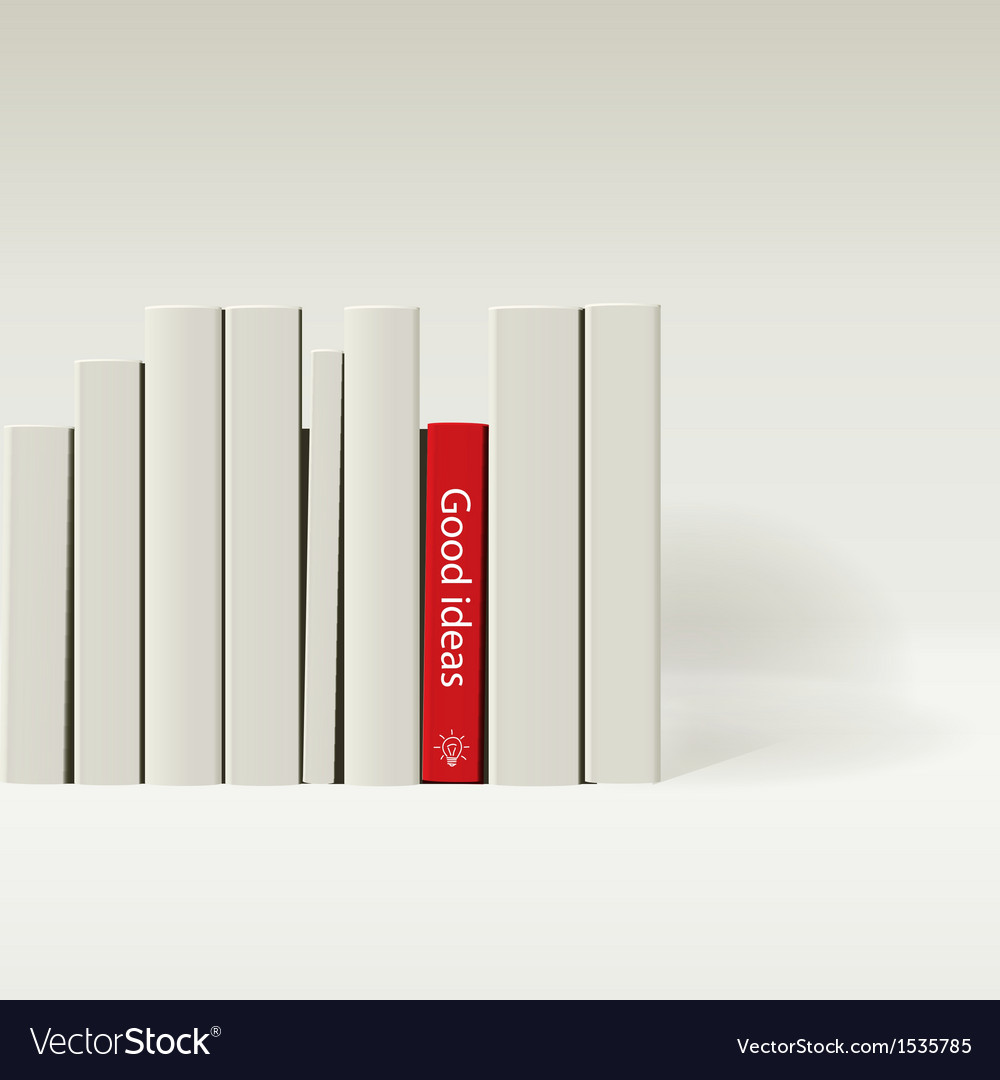 Red book in row of white book vector | Price: 1 Credit (USD $1)