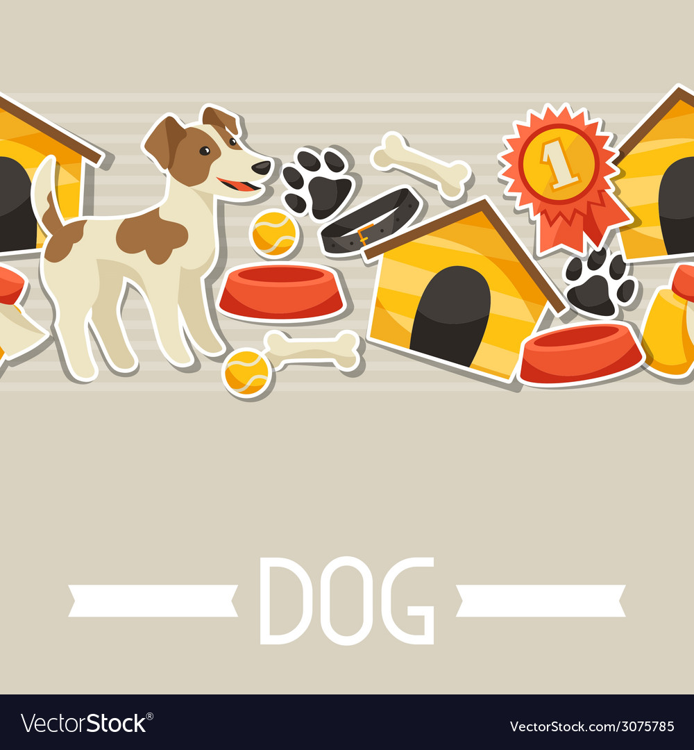 Seamless pattern with cute sticker dogs icons and vector | Price: 1 Credit (USD $1)
