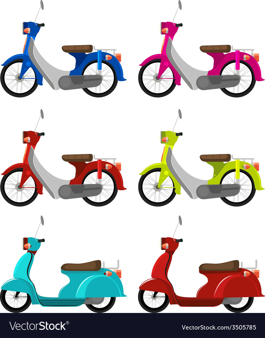 Six colourful scooters vector | Price: 1 Credit (USD $1)
