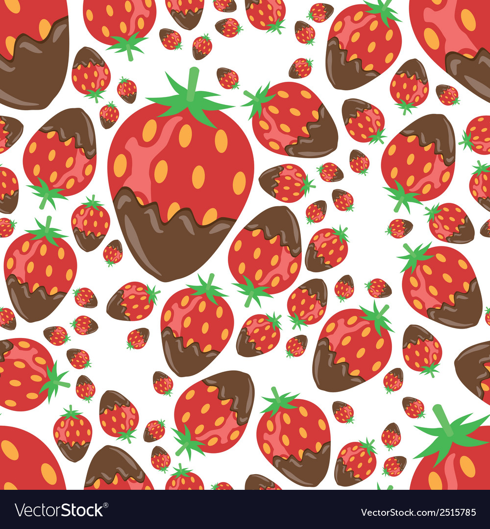 Strawberry in chocolate seamless pattern vector | Price: 1 Credit (USD $1)