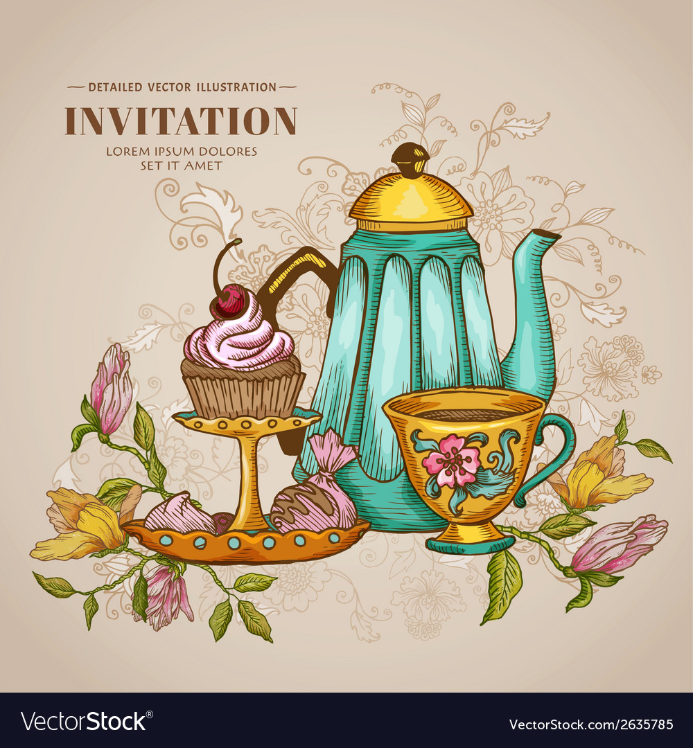 Vintage menu or invitation card vector