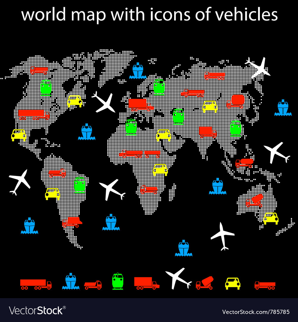 World map with icons of transport for traveling vector | Price: 1 Credit (USD $1)