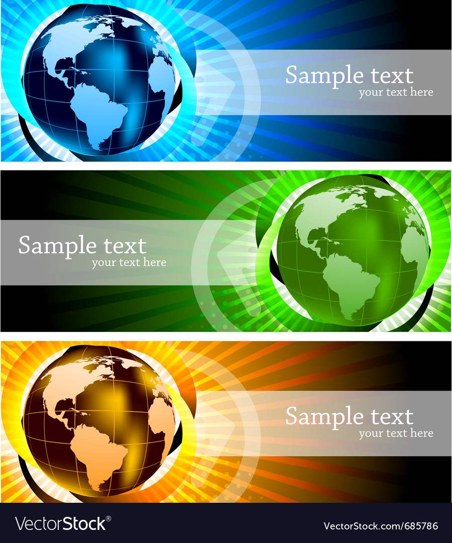 Banners with globe vector   Price: 1 Credit (USD $1)