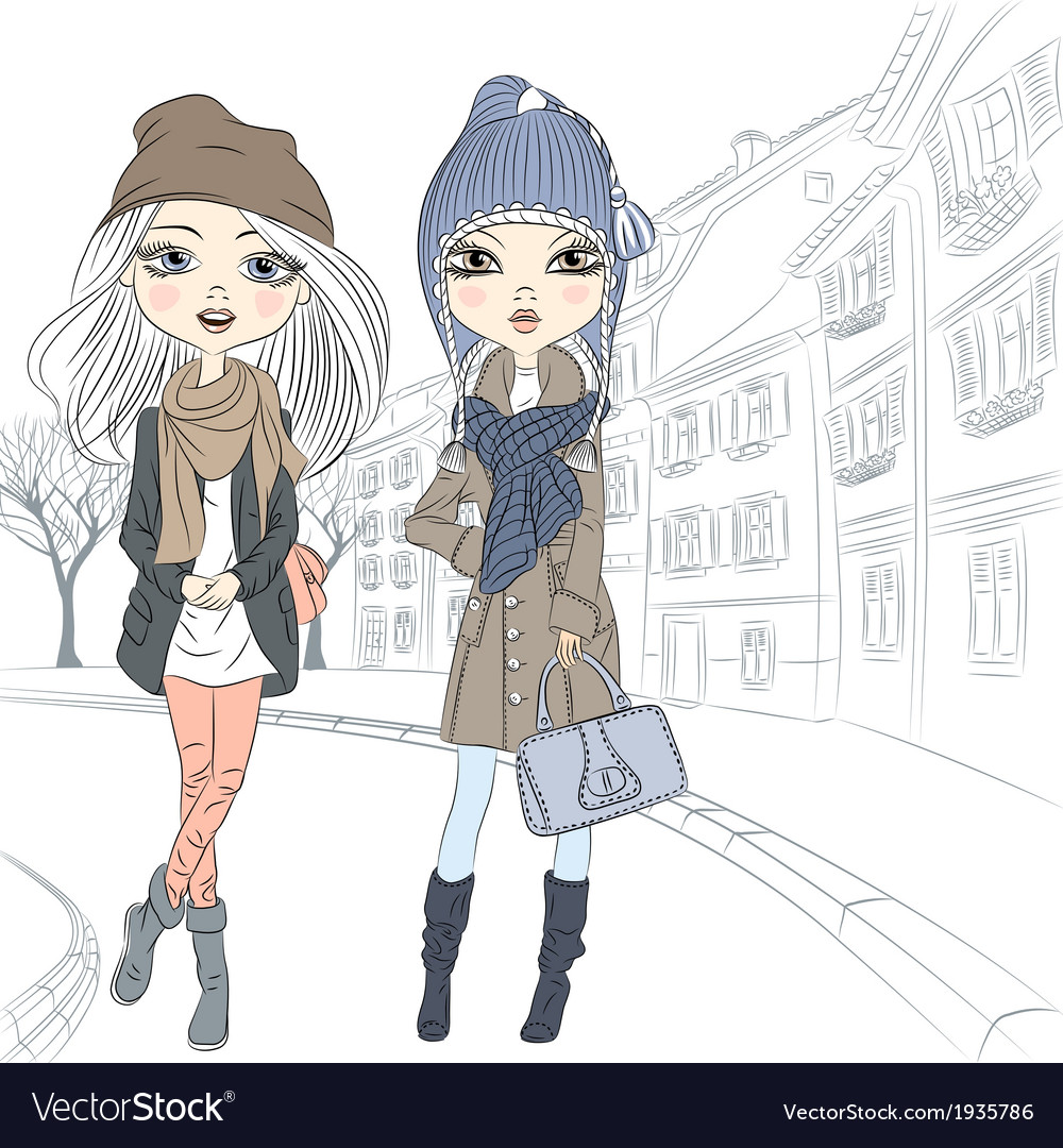Beautiful fashion girls in autumn and winter cloth vector | Price: 1 Credit (USD $1)