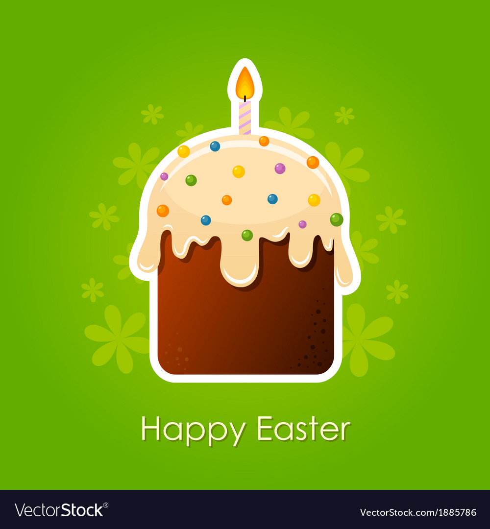 Easter cake with candle vector | Price: 1 Credit (USD $1)