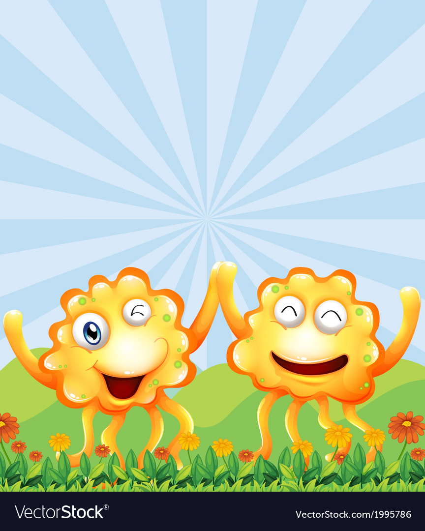 Happy monsters near the hills vector | Price: 3 Credit (USD $3)