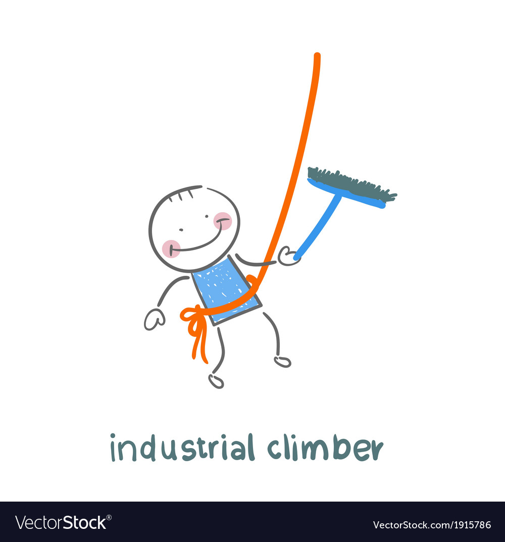 Industrial climber washes windows vector | Price: 1 Credit (USD $1)