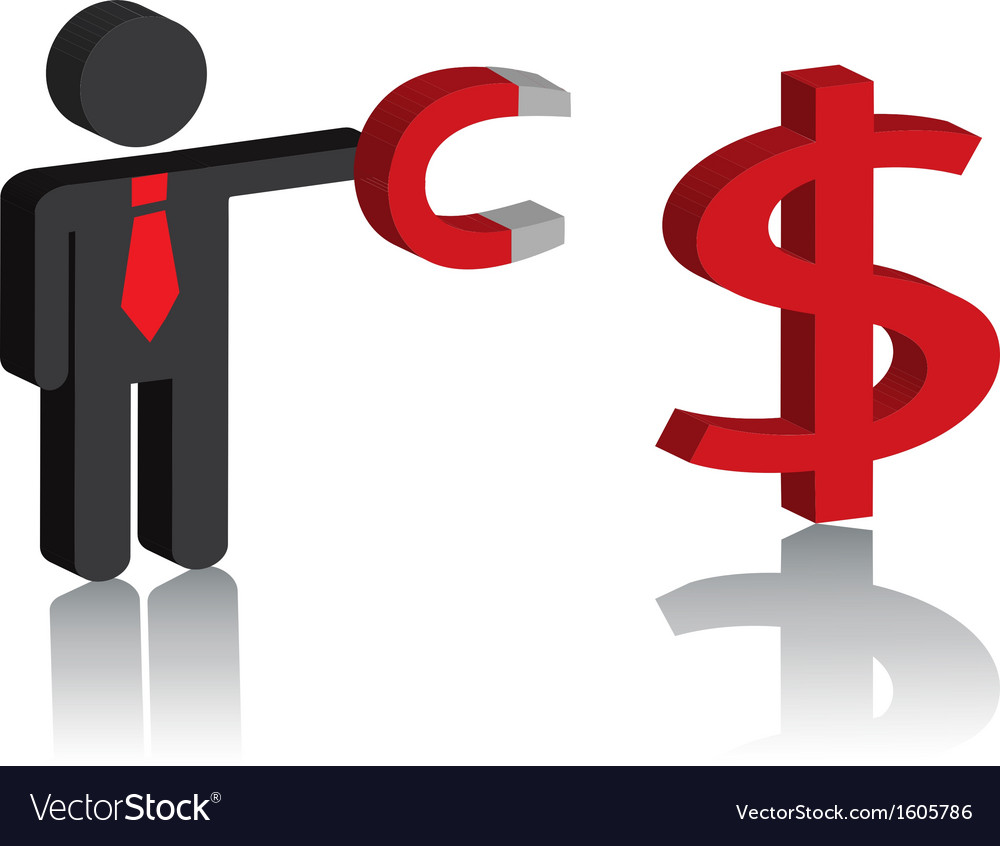 Man with a magnet and a dollar sign vector | Price: 1 Credit (USD $1)
